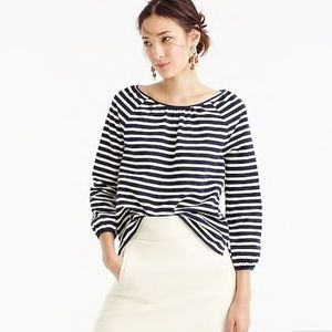 J. Crew Peasant Striped Blouse